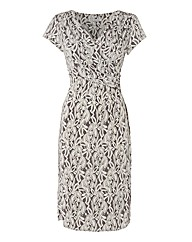 Gina Bacconi Lace Print Mock Wrap Dress