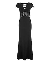 Gina Bacconi Sequin Waistband Gown