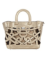 Malissa J Cut-out Mock Snake Tote