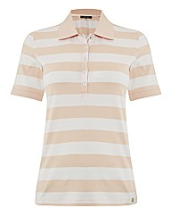 Olsen Stripe Jersey Polo Top