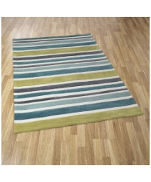 Rainbow Stripe Luxury Carved Acrylic Rug