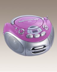 Portable CD Radio Cassette - Pink/Silver