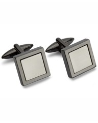 & City Gunmetal Square Cufflinks
