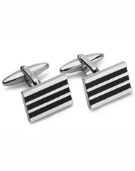 & City Striped Cufflinks