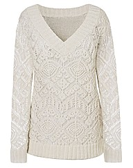 V Neck Lacy Tunic