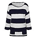 Relaxed Fit Textured Striped Jumper