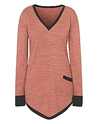 Dipped Hem Colour Block Tunic