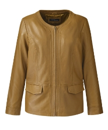 Scoop Neck Leather Jacket