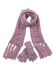 Cable Scarf and Gloves Set