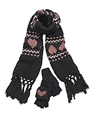 Heart Gloves and Scarf Set
