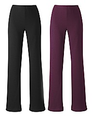Pack of 2 Bootcut Trousers Length 30in