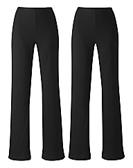 Pack 2 Bootcut Trousers Length 28in