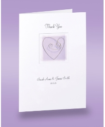 Lilac Heart 20 Thankyou Wedding Cards