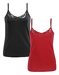 Joanna Hope Pack of 2 Lace Trim Vests