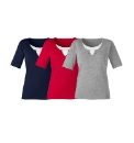 Pack 3 Jersey Tops With Plain Insert