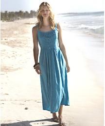 Linen Blend Maxi Dress Length 50in