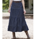 Denim Tiered Skirt with Belt Length 27in