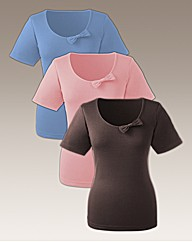 Pack of 3 T Shirt Tops with Bow Detail