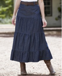Denim Tiered Skirt with Belt Length 30in