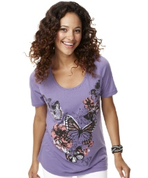 Butterfly Print And Sequin Jersey Tunic