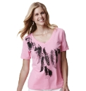 Feather Print V-Neck Jersey Top