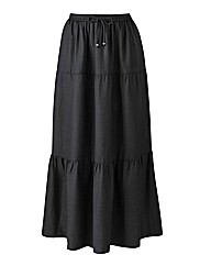 Tiered Crinkle Linen Mix Skirt