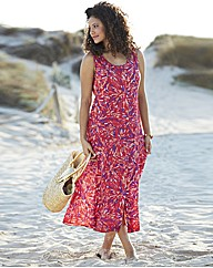 Print Crinkle Dress Length 48in