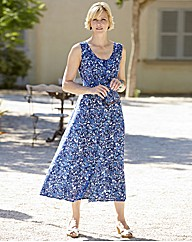 Print Crinkle Dress Length 45in