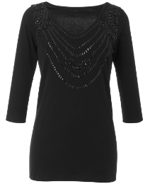 Joanna Hope Jet Bead Trim Jersey Top