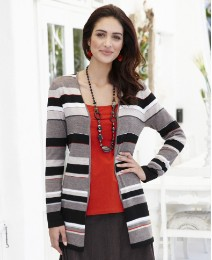 Fusions By East Stripe Cardigan