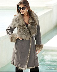 Joanna Hope Faux Fur Trim Coat