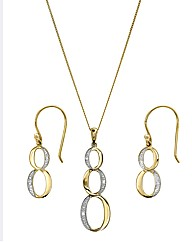 9 Carat Infinity Knot Pendant & Earrings