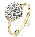 9 Carat Gold Diamond Cluster Ring
