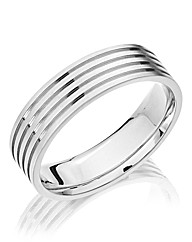 Gents Titanium 6mm Etched Band Ring