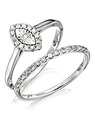 9 Carat White Gold 1/4 Carat Ring Set