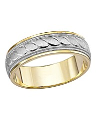 9 Carat Two-tone Gold Gents Wedding Band