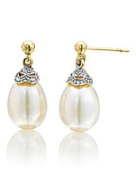 9 Carat Yellow Gold and Pearl Earrings
