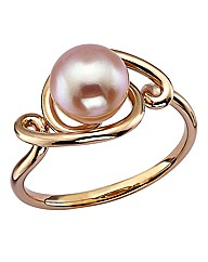 9 Carat Rose Gold and Pink Pearl Ring