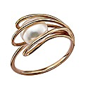 9 Carat Rose Gold and White Pearl Ring