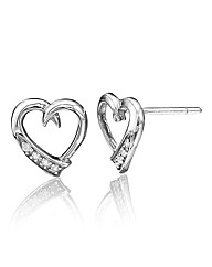 Sterling Silver and Diamond Set Earrings