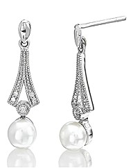 Sterling Silver & Diamond Pearl Earrings
