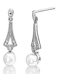 Sterling Silver & Diamond Pearl Earrings
