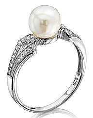 Sterling Silver and Diamond Pearl Ring