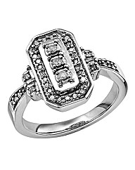 Sterling Silver & Diamond Set Ring
