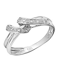 9 Carat White Gold Crossover Ring