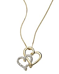 9 Carat Gold Diamond Heart Duo Pendant
