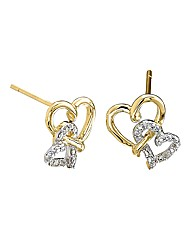 9 Carat Gold Diamond Heart Duo Earrings