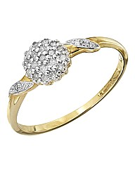 9 Carat Gold 1/10th Carat Cluster Ring
