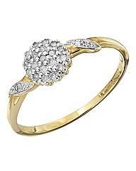 9 Carat Gold 1/10th Carat Cluster Ring