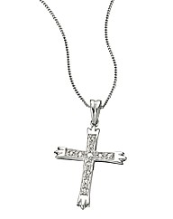 9 Carat White Gold Diamond Cross Pendant